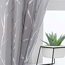 Kotile Grey Sheer Curtains with Tree Pattern -
