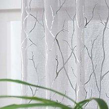 Kotile Grey Silver Sheer Curtains 54-Inch Drop -