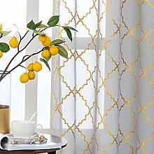 Kotile Grey Voile Curtains 2 Panels - Metallic