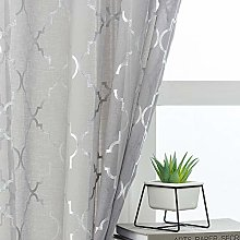 Kotile Grey Voile Curtains 90 Drop - Metallic