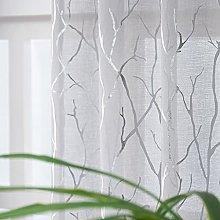 Kotile Grey Voile Curtains 90 Drop - Print