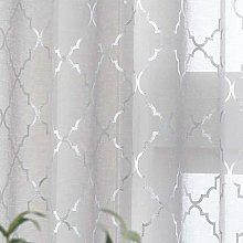 Kotile Moroccan Grey Sheer Curtains - Metalllic