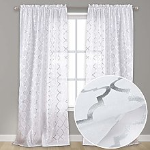 Kotile Moroccan Sheer Curtains for Bedroom - White