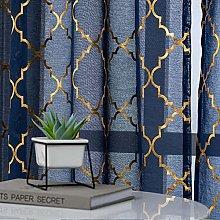 Kotile Moroccan Tile Blue Sheer Curtains -