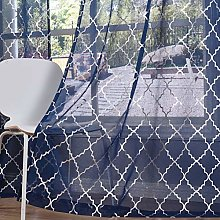 Kotile Moroccan Tile Sheer Curtains for Bedroom -