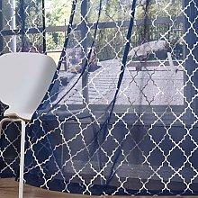 Kotile Navy Net Curtains 66 x 54 Inch Drop - Semi