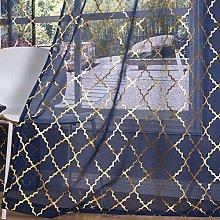 Kotile Navy Voile Curtains 54 Drop Eyelet -