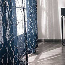 Kotile Navy Voile Curtains for Bedroom - Metallic