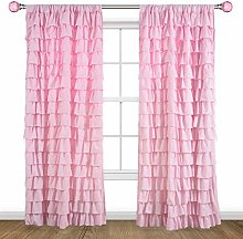 Kotile Pink Ruffle Curtain for Girls Room - Rod