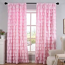 Kotile Pink Ruffle Curtains - Rod Pocket Header
