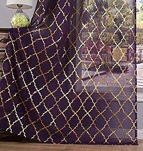 Kotile Purple Sheer Curtains for Girls Room/Kids