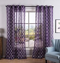 Kotile Purple Sheer Curtains - Silver Moroccan