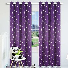 Kotile Purple Star Curtains for Girls Room -
