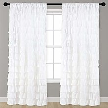 Kotile Ruffle Wave Curtains for Baby Room, Soft