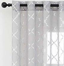 Kotile Silver Grey Voile Curtains - Metallic