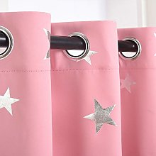 Kotile Star Curtains for Girls Bedroom - Metallic