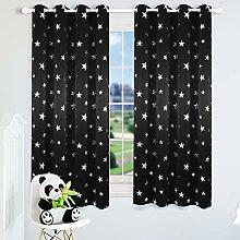 Kotile Star Eyelet Curtains for Kids Room -