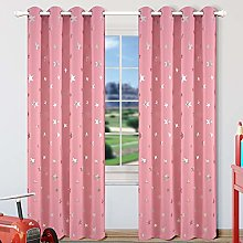 Kotile Star Pink Blackout Curtains for Girls