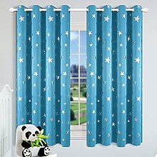 Kotile Stars Nursery Curtains Sky Blue - Metallic