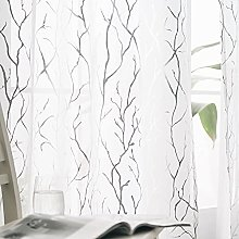 Kotile Tree Voile Curtains 90 Drop - White Sheer