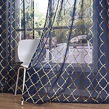 Kotile Voile Net Curtains 90 Drop - Gold Navy