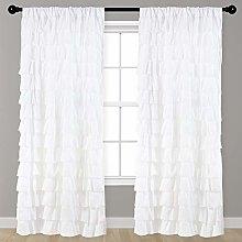 Kotile Watterfall Ruffled White Fabric Window