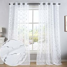 Kotile White and Silver Curtains for Bedroom -