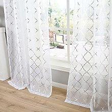 Kotile White and Silver Curtains - Metallic Silver