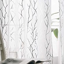 Kotile White Net Curtains for Bedroom - Metallic