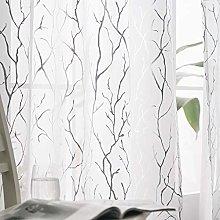 Kotile White Sheer Curtains 72-Inch Drop - Eyelet