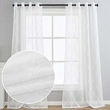 Kotile White Sheer Curtains Embroidered Trellis