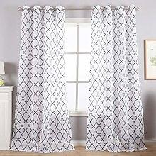 Kotile White Sheer Curtains for Bedroom - Black
