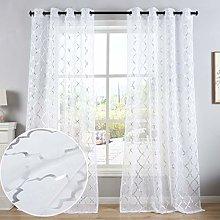 Kotile White Voile Curtains 54 Drop - Metallic