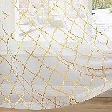 Kotile White Voile Curtains 90 Drop - Print