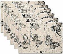 koyiscloth Sets of 6 Retro Butterfly pattern