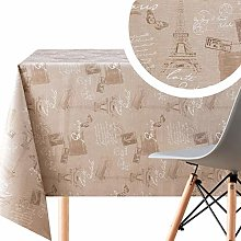 KP HOME Camel Beige Wipe Clean Tablecloth With