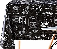 KP HOME Dark Wipe Clean Tablecloth With Chalkboard