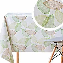 KP HOME Green Leaves Wipe Clean Tablecloth On