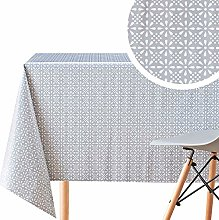 KP HOME Grey PVC Wipe Clean Tablecloth With White