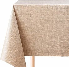 KP HOME Large Wipe Clean Tablecloth Brown Mustard