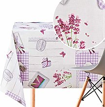 KP HOME Lavender Pattern Wipe Clean Tablecloth -