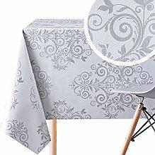KP HOME Luxury Silver Grey Oriental Baroque PVC