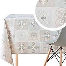 KP Home Tablecloth With Grey Beige Ceramic Lisbon