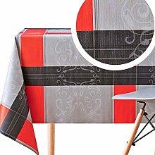 KP HOME Wipe Clean Tablecloth Baroque Tartan