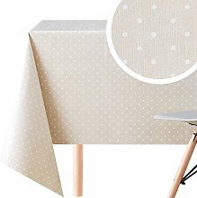 KP HOME Wipe Clean Tablecloth Cream Beige Polkadot