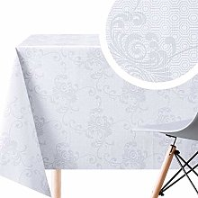 KP HOME Wipe Clean Tablecloth - Cream With Beige