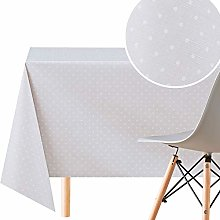 KP HOME Wipe Clean Tablecloth in Polka Dots, Grey