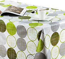 KP HOME Wipe Clean Tablecloth Lime Green And Grey