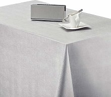 KP HOME Wipe Clean Tablecloth Luxury Silver Grey