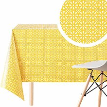 KP HOME Wipe Clean Tablecloth Retro Yellow Floral